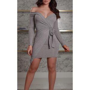 Dresses - ➳ Little Light Grey Wrap Tie Dress
